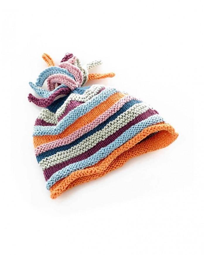 Image of Cappellino A Righe Multicolor - 100% Cotone Bio Pebble 1-2 Anni