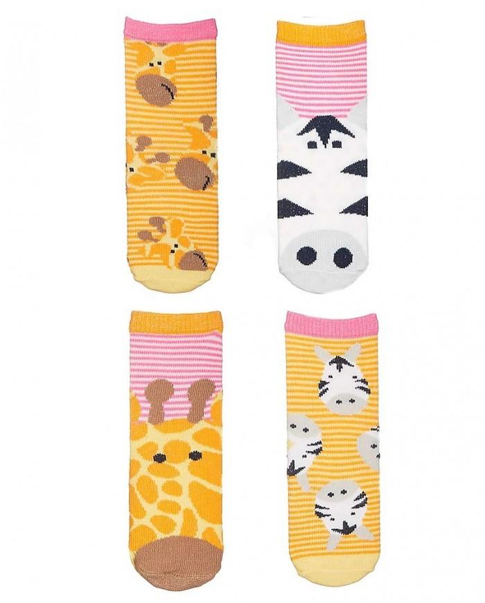 Image of Set 4 Paia Di Calzini Antiscivolo, Giraffa E Zebra - Arancione/rosa Flapjackkids 0-1 Anno