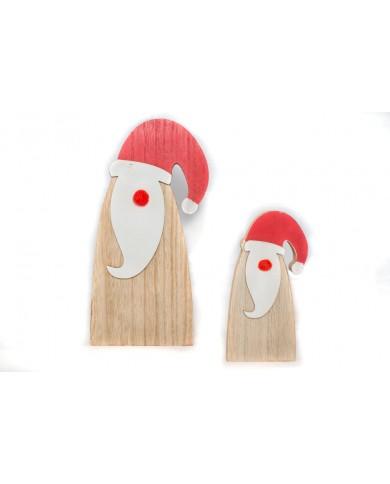 Coppia Babbo Natale in legno