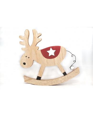 Renna a dondolo in legno