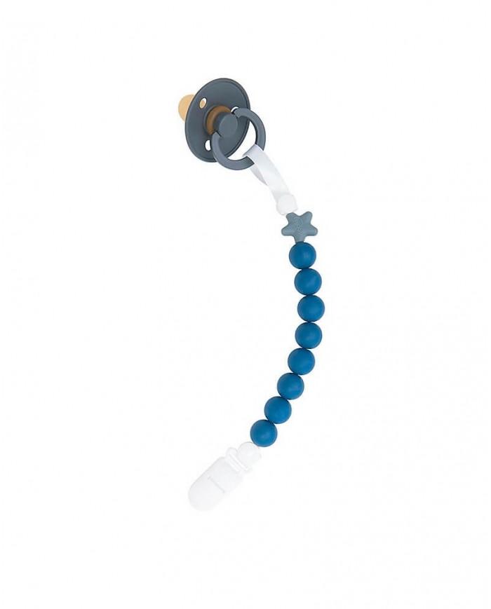 Image of Portaciuccio Pluto Blueberry Silicone Naturale Nibbling+ Ciuccio Bibs Grigio Scuro 6-18 Mesi