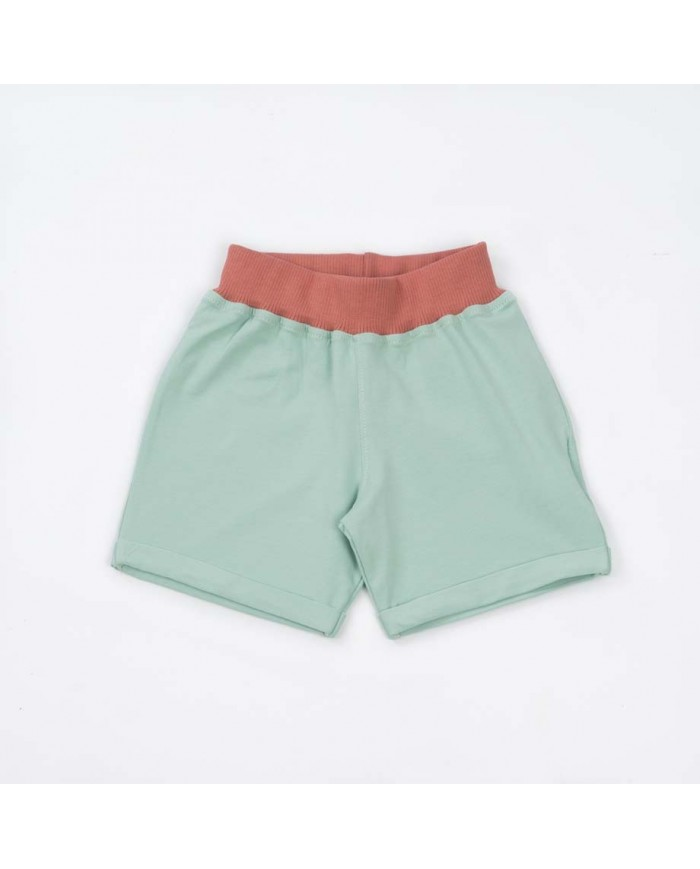 """Image of Shorts Cotone Organico """"pull Me Up"""" Menta E Lampone 1-2 Anni"""