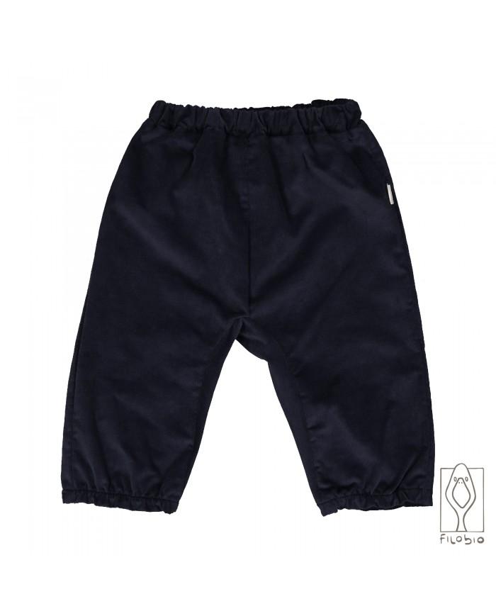 Image of Pantalone Microvelluto Blu Notte Puro Cotone Biologico Filobio 9 Mesi