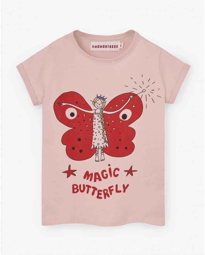 Image of T-shirt Bambina Farfalla Magica Rosa Nadadelazos 24 Mesi